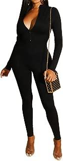 OLUOLIN Womens Sexy Deep V Neck Skinny Jumpsuit Solid Color Zipper Slim Fit Long Pants Romper