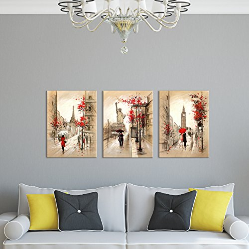 Abstract City Street View Red Umbrella Couple Walking On Rainy Day London Street Painting Romantic Big Ben Clock Eiffel Tower Statue of Liberty Pictures Canvas Print Art for Wall Decoration