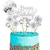 12PCS Cake Topper Happy Birthday, Glitter Cake Topper, Kuchendekoration Geburtstag, Tortenaufsatz, Tortendeko, Tortenstecker Geburtstag, Kuchendeckel, Cupcake Topper Babyparty Topper (Silber)