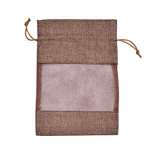 Wilany 50 bolsas de joyería para regalos de arpillera con cordón de arpillera y lavanda, bolsa con cordón, bolsa de joyería de lino y algodón, decoración de boda, 10 x 14 cm, 50 unidades