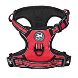 PoyPet No Pull Dog Harness, Reflective Adjustable No Choke Pet Vest with Front & Back 2 Leash Attachments, Soft Control Training Handle for Small Medium Large Dogs(Red,M)