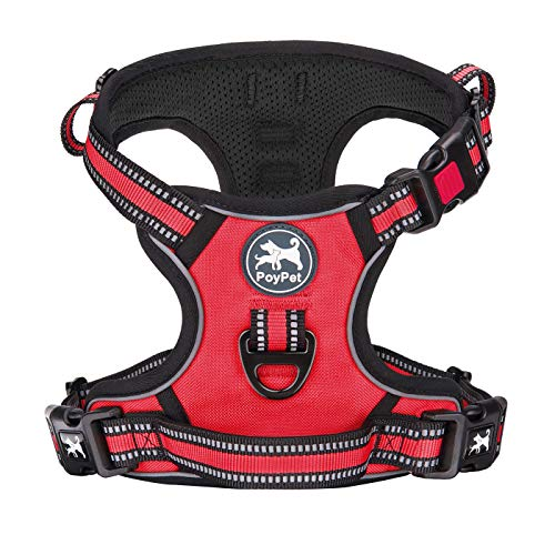 PoyPet No Pull Dog Harness, [Release on Neck] Reflective Adjustable No Choke Pet Vest with Front & Back 2 Leash Attachments, Soft Control Training Handle for Small Medium Large Dogs(Red,S)