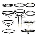 4 o 10 Piezas Tatuaje Gargantilla Collares Conjunto Moda Estiramiento Gótico Gargantilla Mujeres Niñas Encaje Gargantilla Collares, Negro