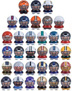 Mix of 8 NFL Random Football Mini Buildables Figures with Logo 2.5 Inch - 8 Teams in Set - Kids Birthday Cake Toppers Boys Superbowl Helmet Party Favors Vending Machine Lot