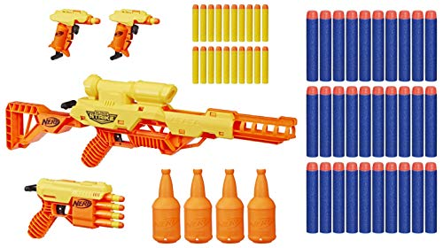 NERF Alpha Strike Battalion Set, Includes 4 Blasters, 4 Half-Targets, and 25 Official Elite Darts, for Kids, Teens, Adults with 30 Extra Elite Darts Pack