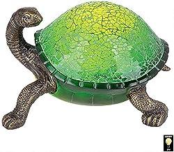 Design Toscano Nocturnal Turtle Mosaic Glass Illuminated Lamp Sculpture, Bronze Finish