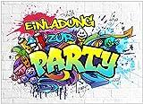 VULAVA 10x EINLADUNGSKARTEN für Party und Kindergeburtstag - die Karten im frech bunten Graffiti Design sind die perfekte EINLADUNG für Jungen Mädchen Kinder zum Geburtstag Einschulung u. KINDERPARTY