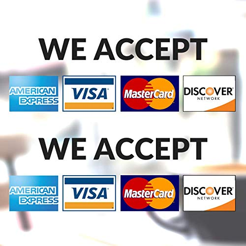 """Clear Credit Card Vinyl Sticker Decal (Landscape) - 2 Pack - We Accept - Visa, MasterCard, Amex and Discover - 8"""" x 3"""" Vinyl Decal for Window - Shop, Cafe, Office, Restaurant"""