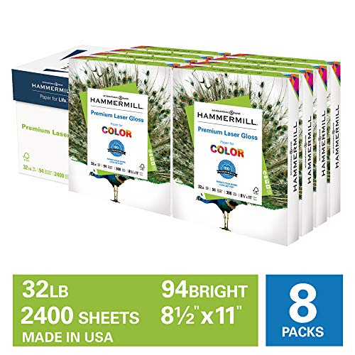 Hammermill Premium Laser Gloss Paper 32lb Copy Paper, 8.5x 11, 8 Packs of 300 Sheets, 2,400 Total Sheets, Made in USA, 94 Bright, Acid Free Glossy Printer Paper, 163110C