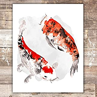 Yin Yang Wall Art Print - Unframed - 8x10 | Koi Fish