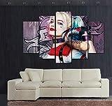Gxucoa Quadro 150X80 Cm 5 Pezzi Stampa su Tela in TNT XXL Immagini Moderni Murale Fotografia Grafica Decorazione da Parete Regalo Squadra Suicida Harley Quinn