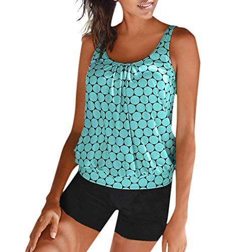 Fanteecy Women's Swimsuits Color Block Tankini Top Boyshort Swimwear Plus Size Swimsuits for Women Two Pieces Tankini Sky Blue