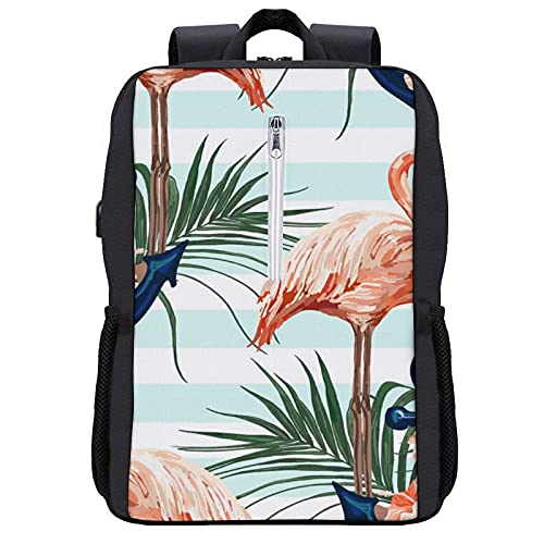 NiYoung Lightweight Polyester Rucksack Anchor Palm Tree Flamingo Travel Hiking Daypack - Big Capacity Multipurpose Anti-Theft Carry-On Bag for Men & Women