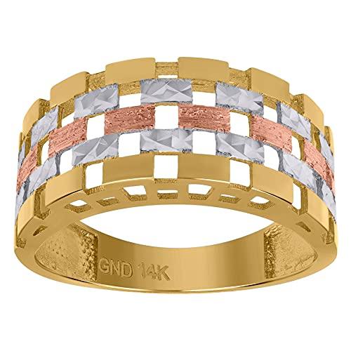 Anillo de lujo texturizado con diseño de ladrillo de oro de 14 quilates, mide 2 mm de ancho, regalos de joyería para mujeres