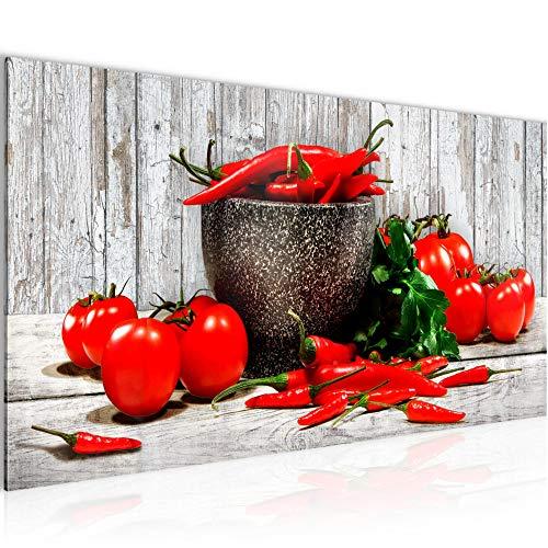 Wandbilder Küche - Gemüse Modern Vlies Leinwand Wohnzimmer Flur Holz Weiss Rot 005812b