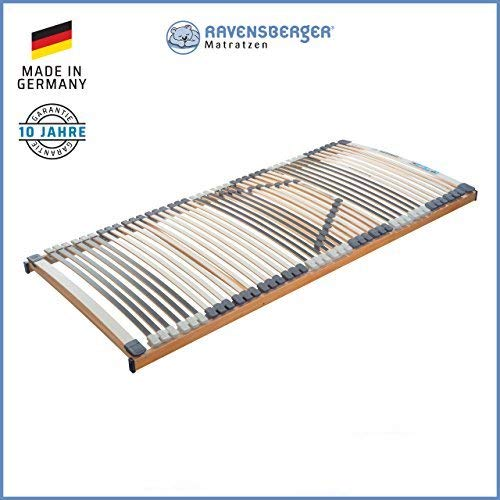 RAVENSBERGER Lattenrost Klassik (Medimed) FIX 44-Leisten 7-Zonen-BUCHE-Lattenrahmen | Starr | Made IN Germany - 10 Jahre GARANTIE | TÜV/GS + Blauer Engel - Zertifiziert | 90 x 200 cm
