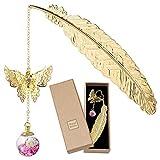 Marcapáginas, Marcapáginas de plumas de metal dorado con mariposa 3D y Colgante de cuentas de...