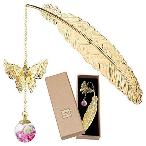 Segnalibro, segnalibri con piume in metallo dorato con farfalla 3D e ciondolo perline di fiori secchi eterni per donna uomo, segnalibri vintage segnapagina regali per bambini ragazze adulti lettori