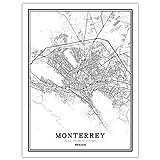 YUAN Leinwand Bild,Mexiko Monterrey Stadt Karte Schwarz