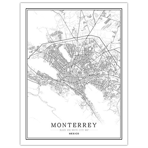 NISHIPANGZI Abstract Creative Black and White City Map Canvas Wall Art Prints Modern,Monterrey,City Line Map for Reading Room Living Room Kids' Room Wall Decor,70 * 100cm(28 *...