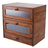 IZLIF Natural Bamboo 2 Layer Bread Boxes for Kitchen Food Storage Removable Layer Large Capacity Bread Keeper with Utensil Flatware Tray Drawer,Brown