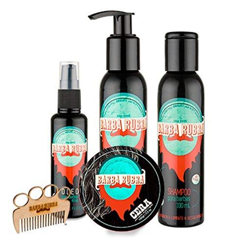 Kit Para Barba Rubra Óleo + Shampoo + Balm + Cera + Pente