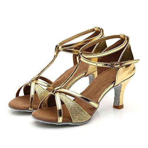Damen Ballsaal Latein Salsa Tanz Schuhe Standard & Latein stil 255,Gold,34EU,Heel1.95¡± - 9