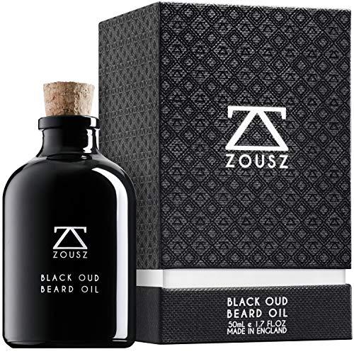 ZOUSZ Aceite para Barba - Cuidado con Oud Negro y Madera con Aceites Naturales de Aguacate y Argán - Suavizante e Hidratante para el Cabello Facial No Graso - Regalo Vegano para Hombres - 50mL