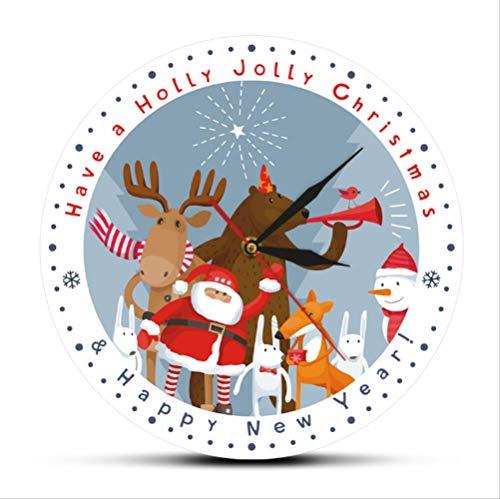 tytlclock Reloj Pared Cuarzo Silencioso Navidad,Tenga Un Holly Jolly Christmas Holiday Times,Reloj Pared Moderno para Decoración del Hogar,Reloj Pared Colgante Estilo Dibujos Animados,12 Pulgadas