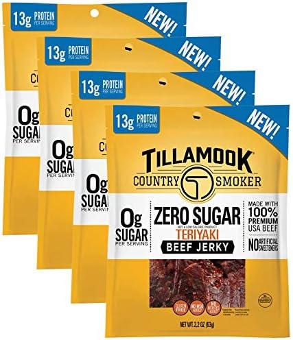 Zero Sugar Beef Jerky Teriyaki Flavor 8 8 Ounces pack of 4 2 2 ounce bags product image
