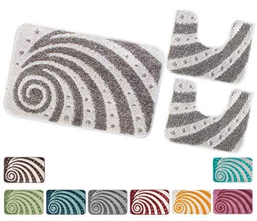 Bidet Greca 100/% Cotone 4 Colori Confezioni.Giuliana PARURE Tappeto Bagno 3 Pezzi Tappeto Giro Water Grigio