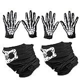 WYSUMMER Skull Face Mask and White Skeleton Gloves Bones Balaclava Christmas Ghost Gloves for Adult Men Women Halloween Dance Party
