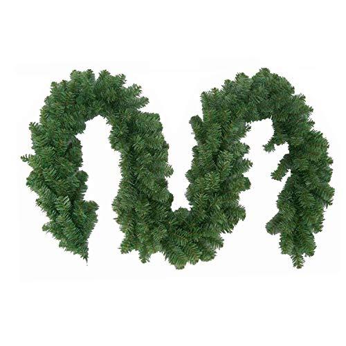 Wohaga Extra dichte Weihnachtsgirlande künstliche Tannengirlande, 270cm, 300 Spitzen, In- / Outdoor