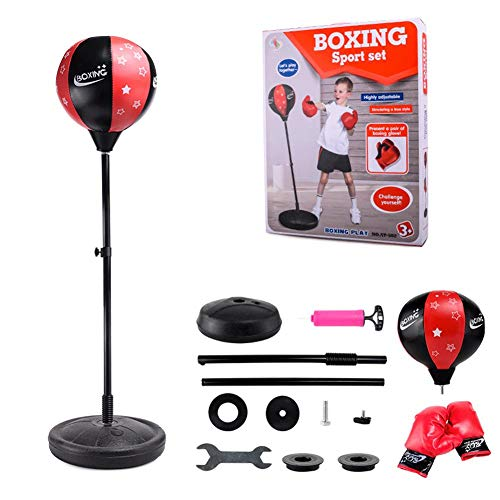 Sommer\'s Laden Punchingball Boxstand Höhenverstellbarer Standbox, Reflex Fightball Set Speed Fitness Punch Boxing Ball Mit Kopfband, Kinder Jugend Höhenverstellbar