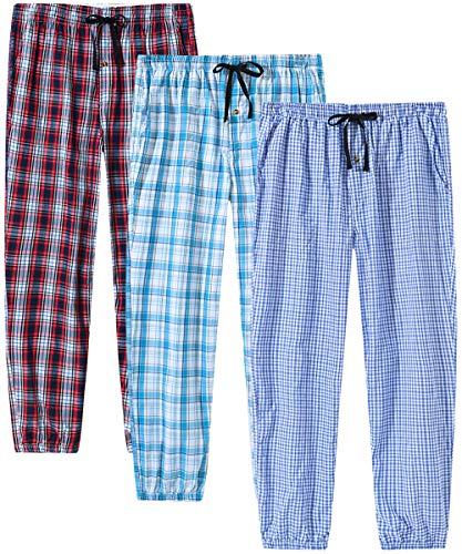 JINSHI Pantalones Pijamas Largos Algodón a Cuadros Hombre Casual Pantalones de Casa con Bolsillos 3 Pack Talla S