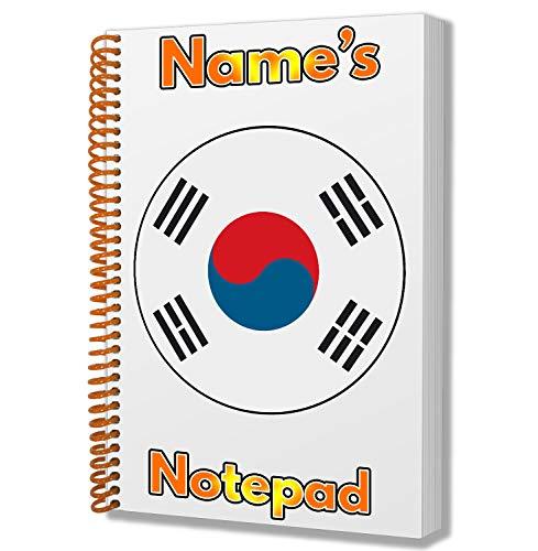 Gepersonaliseerd geschenk - Korea (zuid) Vlag A5 Kladblok/notitieboekje - Cadeau - Verjaardag - Kerstmis - Kachelvuller - Geheime Kerstman - ADD Elke naam