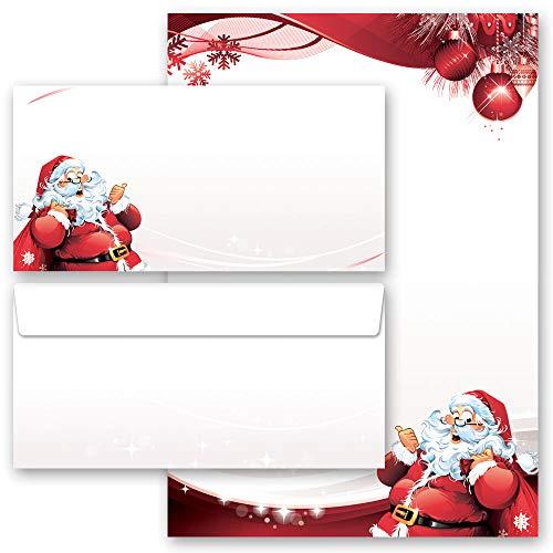 Briefpapier Set, 20 tlg. Weihnachten, BRIEF AN DEN WEIHNACHTSMANN 10 Blatt Briefpapier + 10 passende Briefumschläge DIN LANG ohne Fenster | Paper-Media
