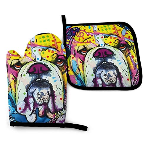 English Bulldog Pattern Oven Mitts and Pot Holders Set Kitchen Gift Set for Kitchen Cooking Baking BBQ