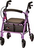 NOVA GetGo Petite Rollator Walker (Petite & Narrow Size), Rolling Walker for Height 4'10' - 5'4', Seat Height is 18.5 Inch, Ultra Lightweight - Only 13 lbs with More Narrow Frame, Color Purple