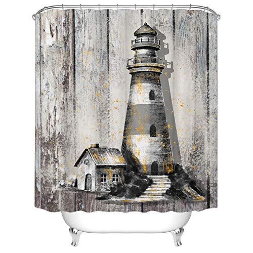 Rustikaler Bauernhaus-Duschvorhang, Leuchtturm, Landhaus-Design, Badvorhang, Stoff, Badezimmer-Dekor-Set mit Haken, 182,9 x 182,9 cm, Grau