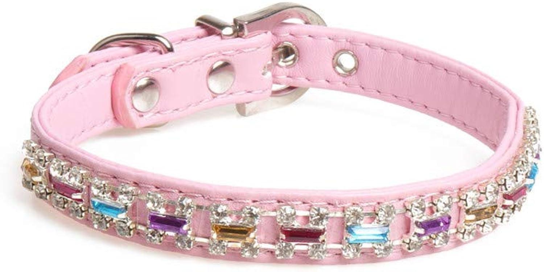 Pet Online Pet Collar pu Skin Small and Medium Dog collarpink