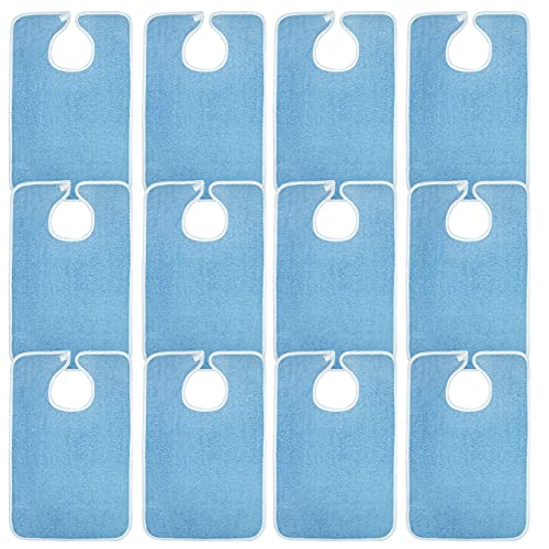 Avalon Towels Terry Cotton Adult Bibs – 18x30 inches Value Pack of 12 Blue Washable Bibs – Perfect Clothing Protection for Elderly Men & Women While Eating – Ease of use with Adjustable Neck Strap