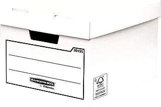 Bankers Box 00155 Paquet de 10 Caisses de Rangement multi-usage standard/boîte d'archives avec couvercle Blanc