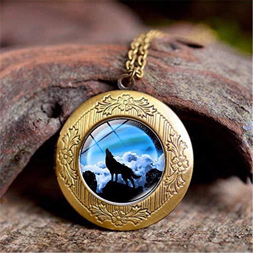 DZX Joyería de Piedras Preciosas del Tiempo, Hermosa Naturaleza Luna Lobo Animal,...