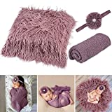 Aniwon 3PCS Baby Photo Props Newborn: Long Ripple Newborn Photography Wraps Rug with Baby Headband Infant Outfits Soft Photography Mat Newborn Photography Prop