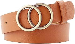 Desconocido JIER Liquidación Anillo Doble para Mujer Cinturón de Cuero PU Círculo Redondo Hebilla Dorada Cinturón Anudado Cinturones Femeninos