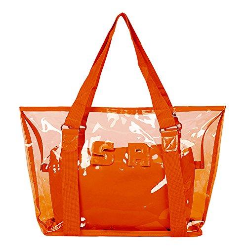 Artone Wasserabweisend Transparent Tragetasche Strandtasche Schultertaschen Handtasche Mit Bikini Badeanzug Tasche 2 in 1 Orange