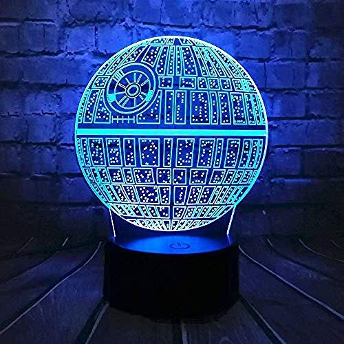 3D-Diashow Movie Wars Death Planet 3D-lamp sfeerverlichting nachtlicht kleurrijk cadeau verjaardagscadeau E - wekker basis 7 kleuren/D - Remote 7 ColorCrack White