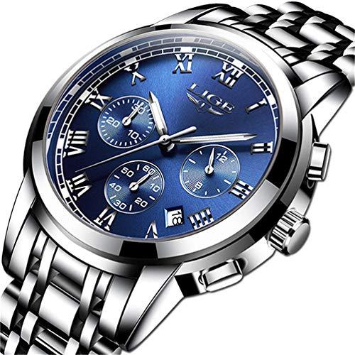 LIGE Relojes Hombre Militar Impermeable Deportes Relojes Moda Acero Inoxidable Analogicos Cuarzo Relojes