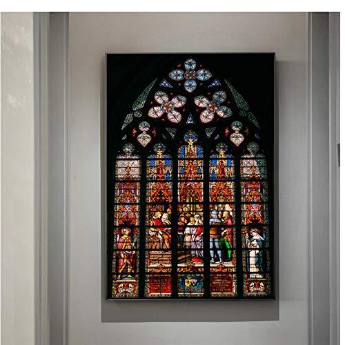YXFAN Religión cristiana Edificio Ventana Iglesia Vitral Techo Imagen en la pared Arte Carteles e impresiones Pintura en lienzo Decoración-20x30 EN Sin marco